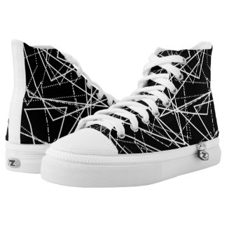 Modern Black & White Abstract High Tops Printed Shoes