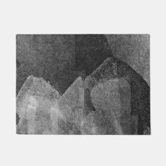 Modern black white abstract painting art design doormat