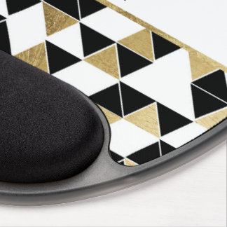 Modern Black White and Faux Gold Triangle Monogram Gel Mouse Pad