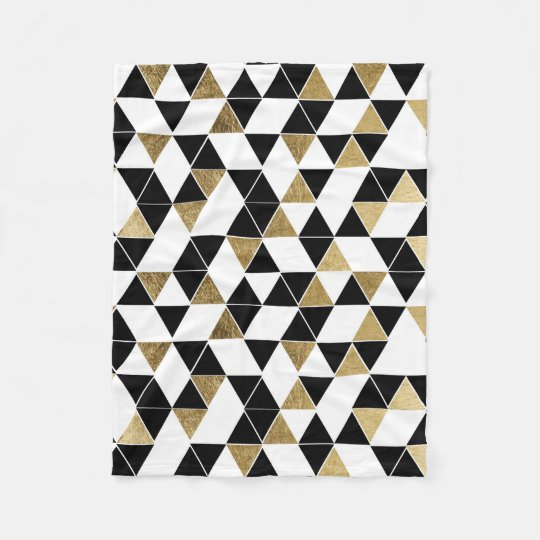 Modern Black, White, and Faux Gold Triangles Fleece