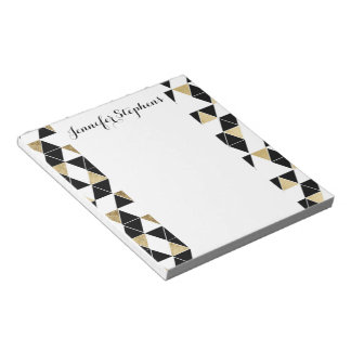 Modern Black, White, and Faux Gold Triangles Notepads