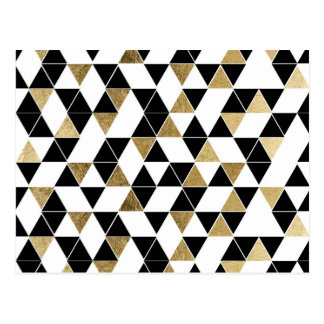 Modern Black, White, and Faux Gold Triangles Postcard