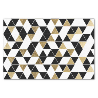 Modern Black, White, and Faux Gold Triangles Tissue Paper