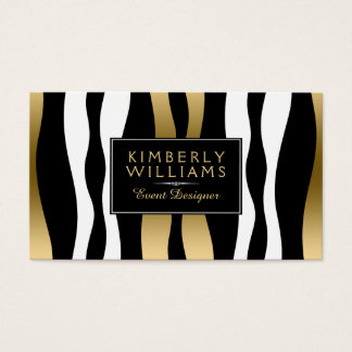 Modern Black White And Gold Zebra Business Card