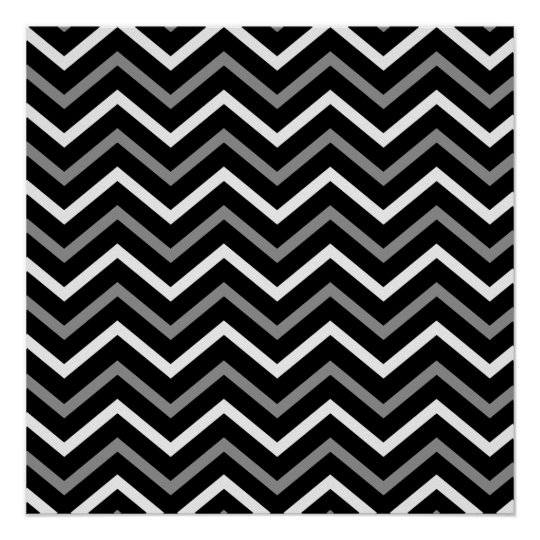 Modern Black White And Grey Chevron Pattern Zigzag