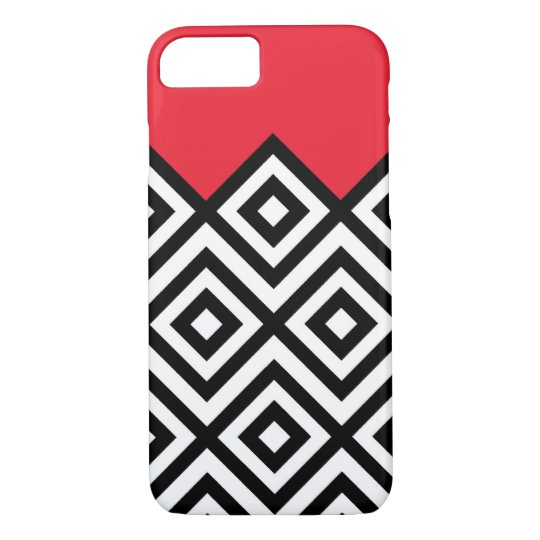 Modern Black White and Red Chevron Pattern iPhone 8/7 Case