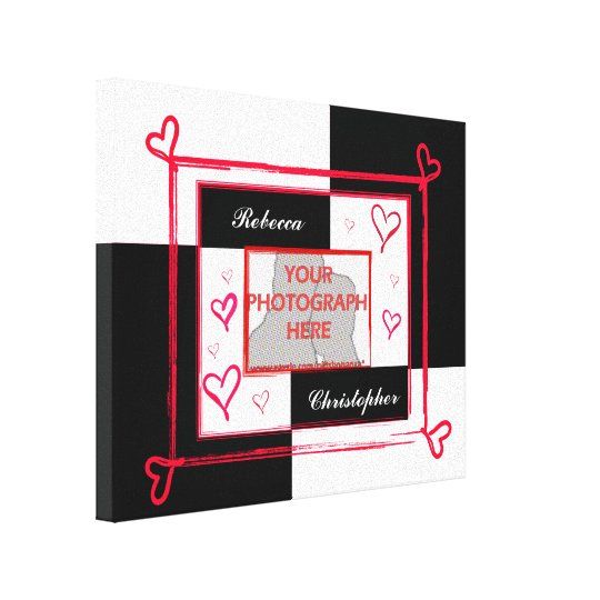 Modern Black White and Red Love Photo Frame