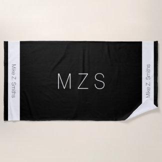 modern black / white beach towel with name