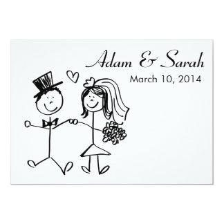 Modern Black & White Bride & Groom Doodle Invite