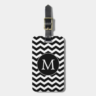 Modern Black White Chevron Monogram Luggage Tag