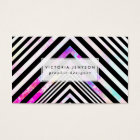 Modern Black White Chevron Pink Teal Clouds Nebula Business Card