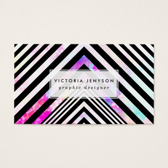 Modern Black White Chevron Pink Teal Clouds Nebula