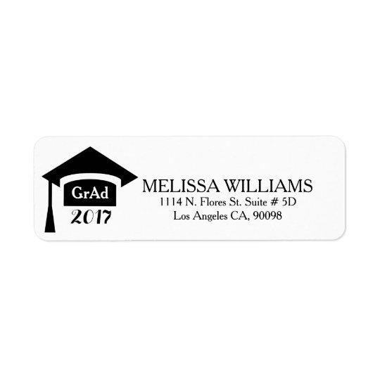 Modern Black & White Class Of 2017 Graduation Return Address Label
