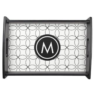 Modern Black & White Custom Monogram Serving Tray