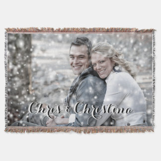 Modern Black & White Custom Text Photo Throw Blanket