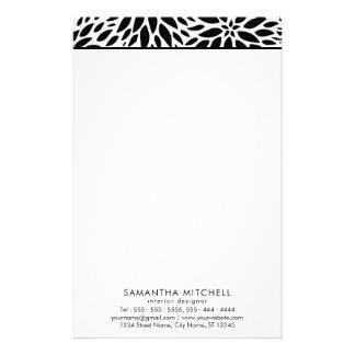 Modern Black White Dahlias Professional Stationery