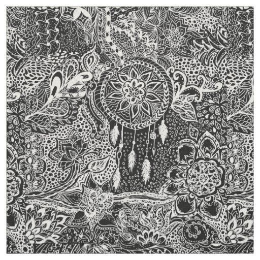 Modern black white dreamcatcher floral pattern fabric