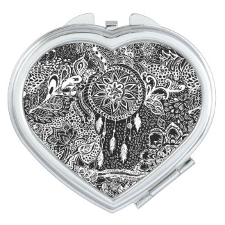 Modern black white dreamcatcher floral pattern travel mirror