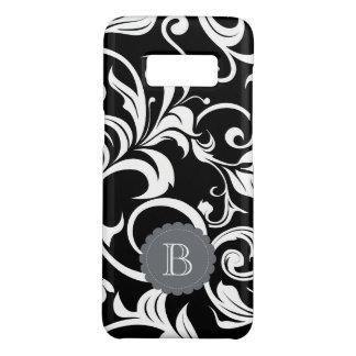 Modern Black White Floral Wallpaper Swirl Monogram Case-Mate Samsung Galaxy S8 Case