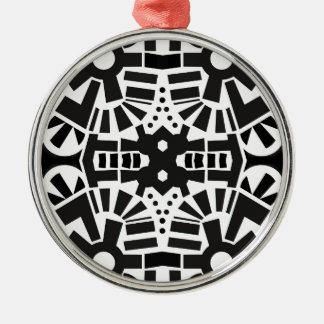 Modern Black & White Geometric Pattern Christmas Ornament