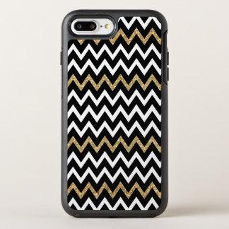 Modern Black White & Gold Glitter Chevron Pattern OtterBox Symmetry iPhone 7 Plus Case