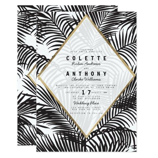 Modern black white gold tropical floral wedding card