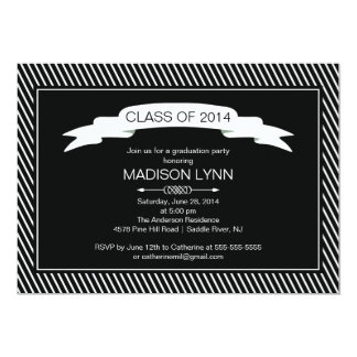 Modern Black White Graduation Party Invitation