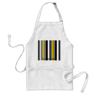 Modern black white gray and gold stripes adult apron