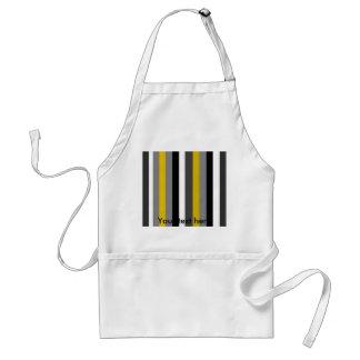 Modern black white gray and gold stripes standard apron