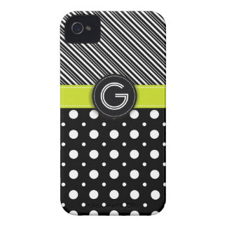 Modern black, white, green dot & stripes iPhone 4 covers