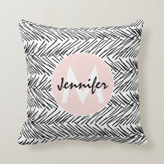 Modern Black & White Hand Drawn Zigzag Monogram