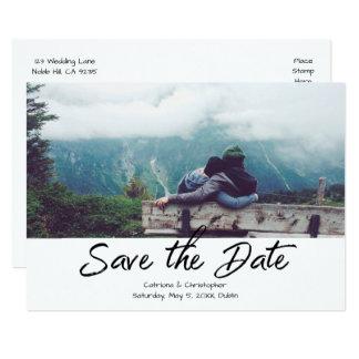 Modern Black White Handwritten Photo Save the Date Card