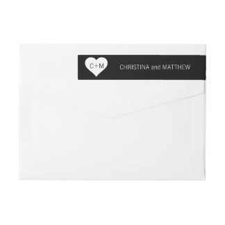 Modern Black White Heart Initials Wedding Wrap Around Label