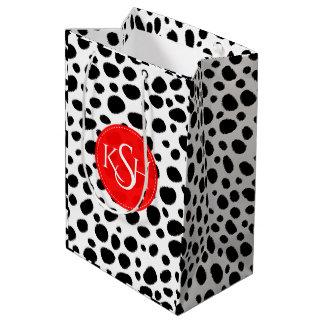 Modern Black & White Leopard Spots Pattern Print Medium Gift Bag
