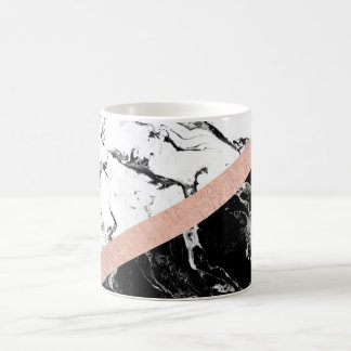Modern black white marble color block rose gold coffee mug