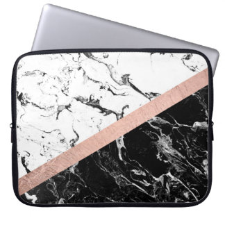 Modern black white marble color block rose gold computer sleeve