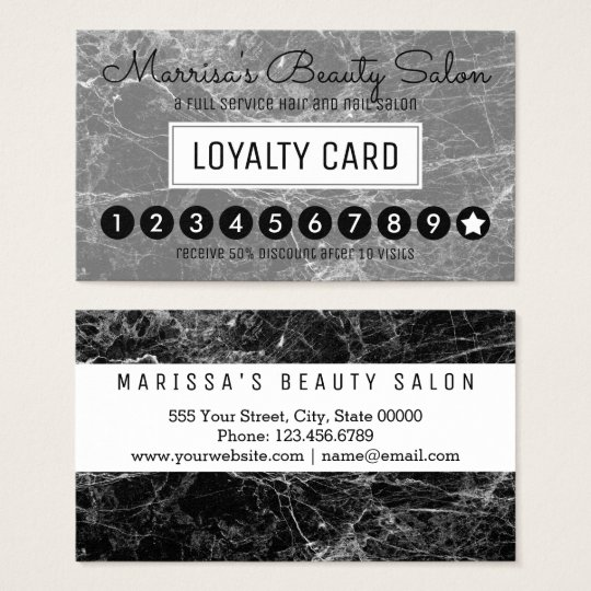 Modern Black White Marble Loyalty Discount Punch Business