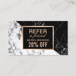 Refer a friend business cards business card printing zazzle uk modern black white marble refer a friend referral colourmoves