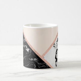 Modern black white marble rose gold color block coffee mug