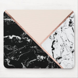 Modern black white marble rose gold color block mouse mat