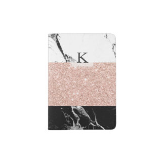 Modern black white marble rose gold color block passport holder
