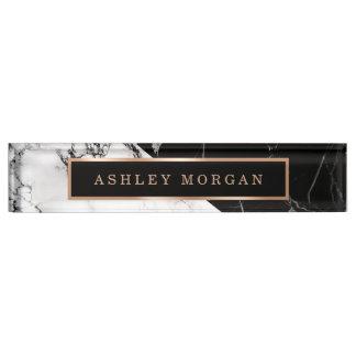 Modern Black White Marble Stone Texture Look Nameplate