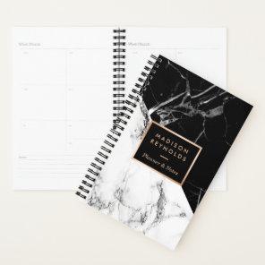 Modern Black White Marble Texture Designer Planner