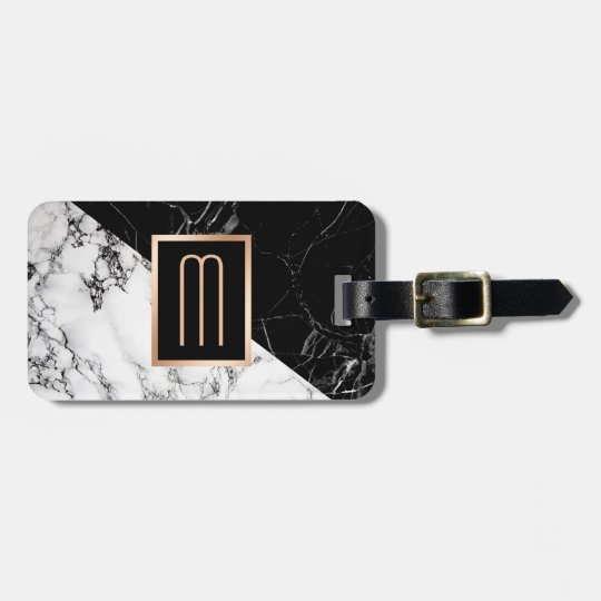 Modern Black White Marble Texture Stylish Monogram Bag