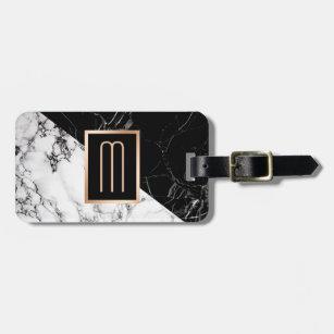 Modern Black White Marble Texture Stylish Monogram Luggage Tag