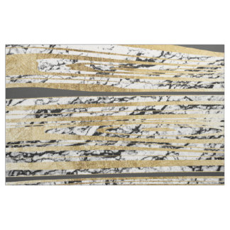 Modern Black White Marble with Faux Gold Stripes Fabric