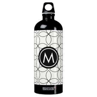Modern Black & White Monogram SIGG Water Bottle