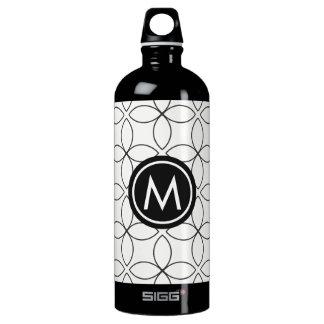 Modern Black & White Monogram SIGG Water Bottle SIGG Traveller 1.0L Water Bottle