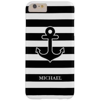 Modern Black White Nautical Anchor Stripes Pattern Barely There iPhone 6 Plus Case