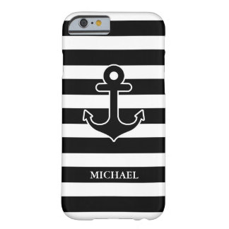 Modern Black White Nautical Anchor Stripes Pattern Barely There iPhone 6 Case